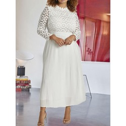 Plus Size Pleated Stand Collar Mid-Calf Regular Women's Dress