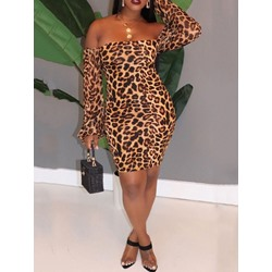 Leopard Above Knee Print Off Shoulder Bodycon Women's Dress