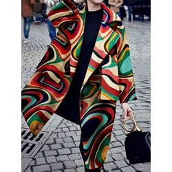 Loose Geometric Long Women's Overcoat