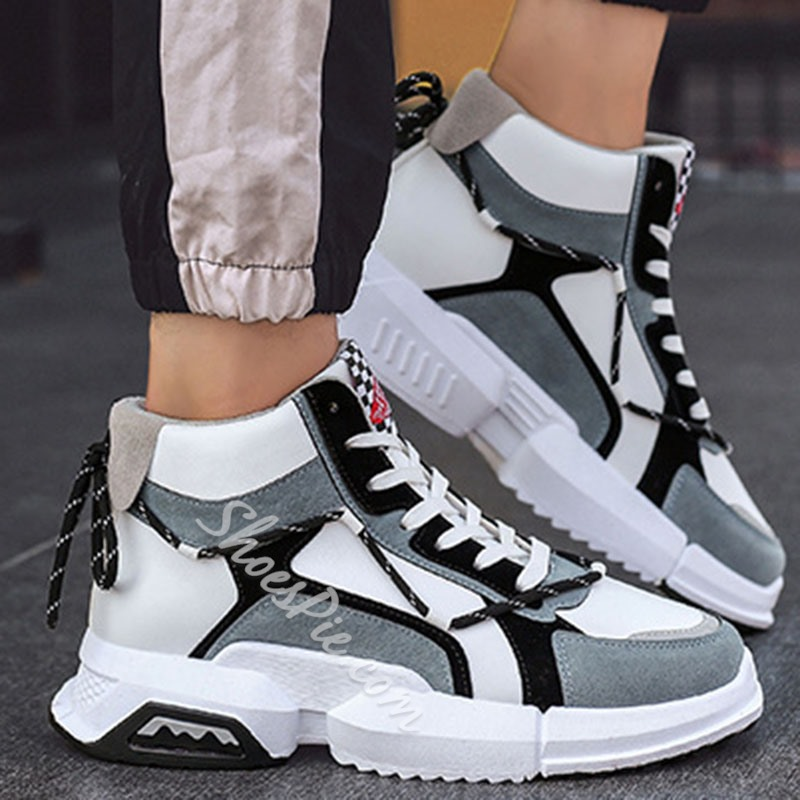 Shoespie Men's High-Cut Upper Lace-Up Sports Sneakers