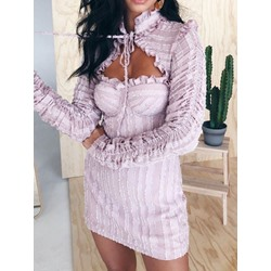Long Sleeve Above Knee Pleated Spring Women's Dress