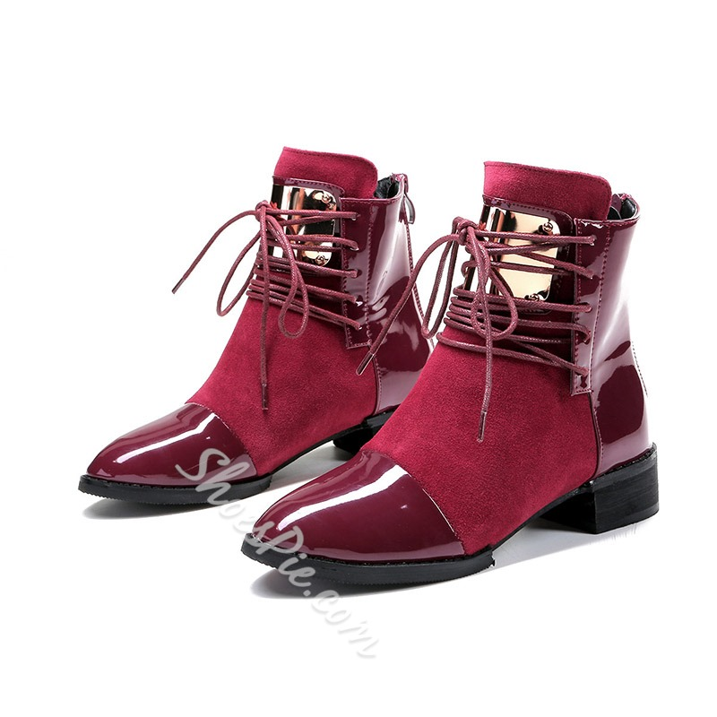 Shoespie Sexy Round Toe Back Zip Color Block Lace-Up Boots