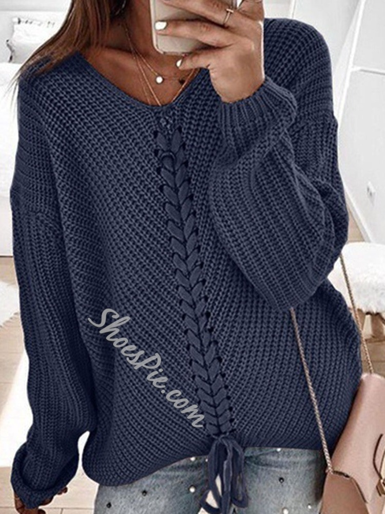 Standard Lace-Up Women's Sweater