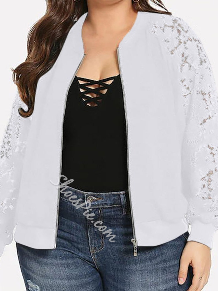 Plus Size Loose Long Sleeve Regular Women's Jacket