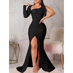 Oblique Collar Long Sleeve Split Sexy Women's Dress