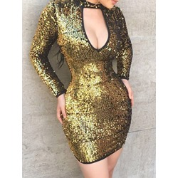 Above Knee Long Sleeve Sequins Bodycon Women's Dress