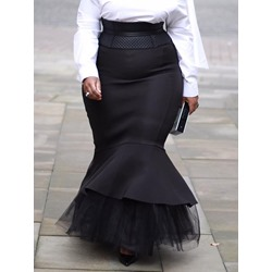 Plus Size Mermaid Floor-Length Patchwork High Waist Women's Skirt