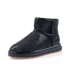 Shoespie Trendy Slip-On Color Block Round Toe Thread Boots