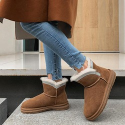 Shoespie Stylish Round Toe Color Block Slip-On Casual Boots