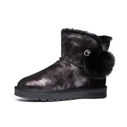 Shoespie Stylish Round Toe Patchwork Slip-On Casual Boots