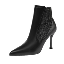 Shoespie PU Trendy Slip-On Pointed Toe Stiletto Heel Thread Boots