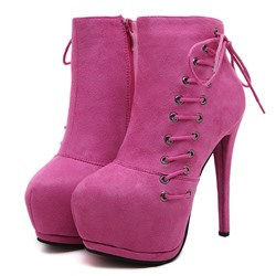 Shoespie Trendy Lace-up Stiletto Heel Plain Round Toe Boots
