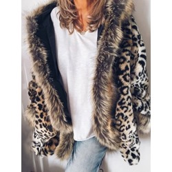 Regular Color Block Mid-Length Loose Women's Faux Fur Overcoat