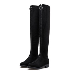 Shoespie Trendy Front Zipper Round Toe Plain Thread Boots