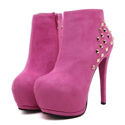 Shoespie Sexy Rivet Round Toe Stiletto Heel Side Zipper Boots