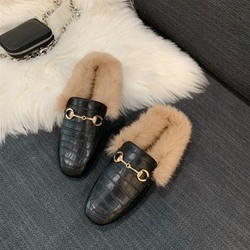 Shoespie Trendy Closed Toe Block Heel Thread Spring Slippers