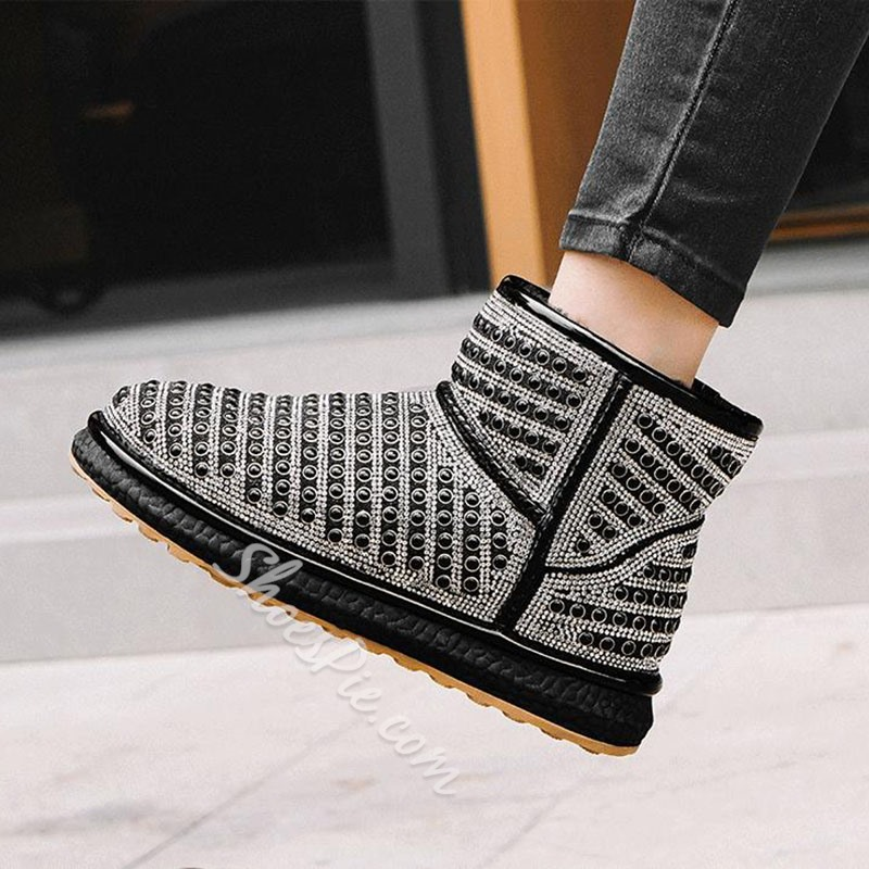 Shoespie Sexy Color Block Round Toe Slip-On Korean Boots