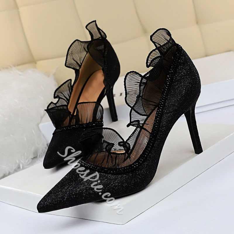 Shoespie Stylish Stiletto Heel Lace Pointed Toe Color Block Thin Shoes