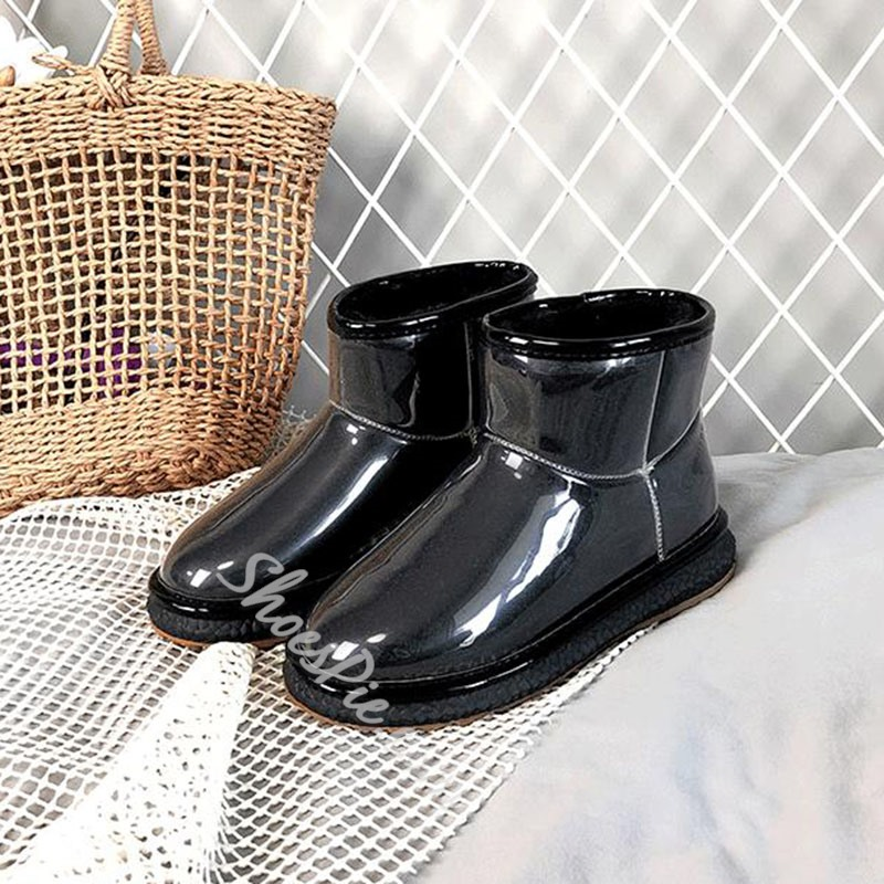 Shoespie Stylish Round Toe Plain Slip-On Casual Boots