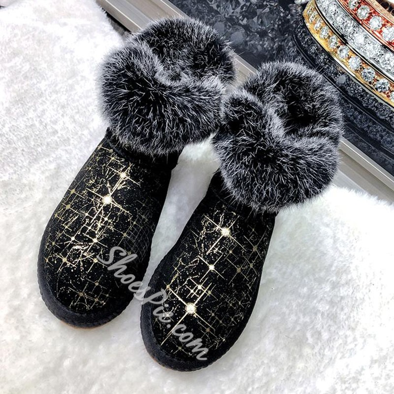 Shoespie Sexy Patchwork Round Toe Slip-On Korean Boots