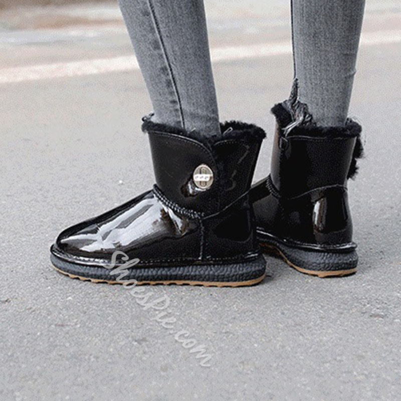 Shoespie Sexy Patchwork Round Toe Hasp Korean Boots