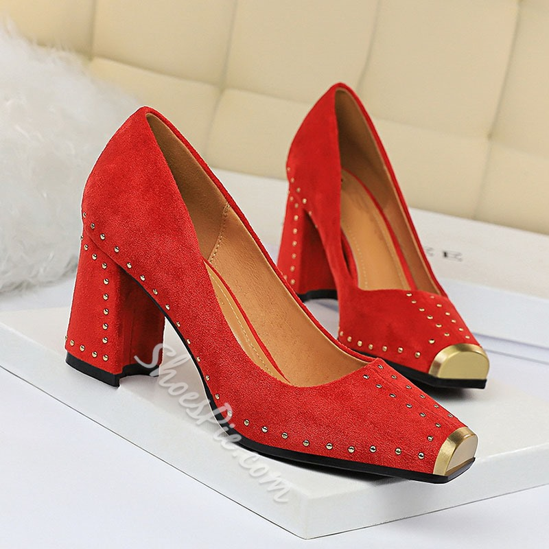 Shoespie Sexy Chunky Heel Slip-On Thread Western Thin Shoes
