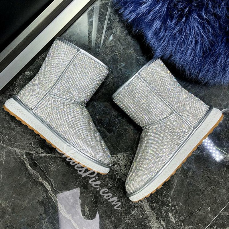 Shoespie Stylish Round Toe Slip-On Patchwork Casual Boots