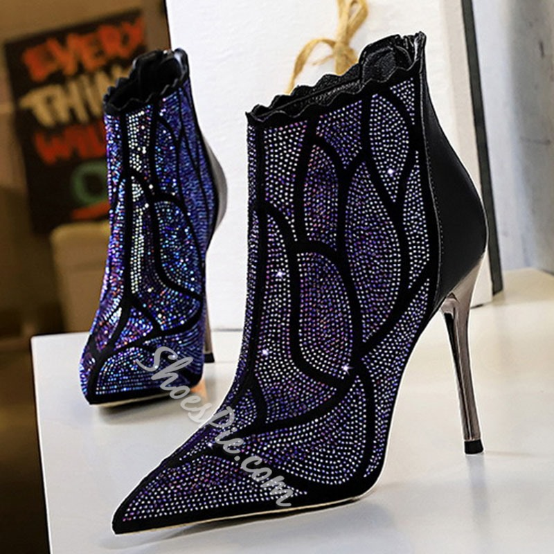 Shoespie Stylish Stiletto Heel Pointed Toe Back Zip PU Boots