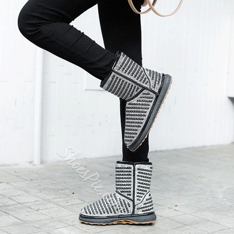 Shoespie Trendy Slip-On Patchwork Round Toe Rhinestone Boots