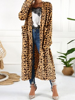 Color Block Long Straight Women's Trench Coat