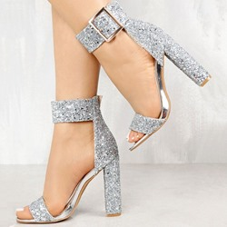 Shoespie Buckle Glitter Chunky Heel Sandals