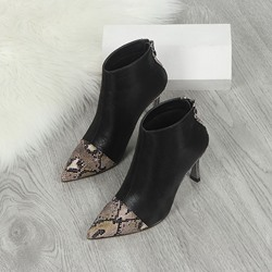 Shoespie Sexy Stiletto Heel Pointed Toe Patchwork Thread Boots