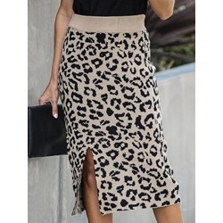 Leopard Knee-Length Bodycon Casual Women's Skirt