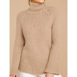 Regular Patchwork Regular Turtleneck Women's Sweater