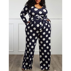 Plus Size Print Polka Dots Casual Loose Women's Jumpsuit