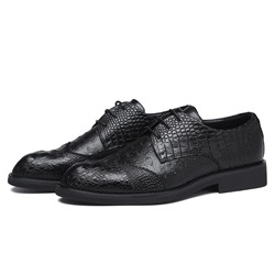 Shoespie Men's Plain Low-Cut Upper Embossed Leather Round Toe Leather Shoes