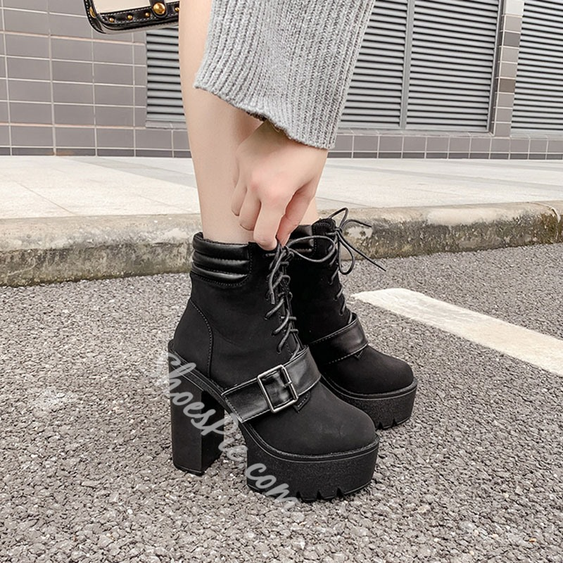 Shoespie Trendy Plain Round Toe Chunky Heel Western Boots