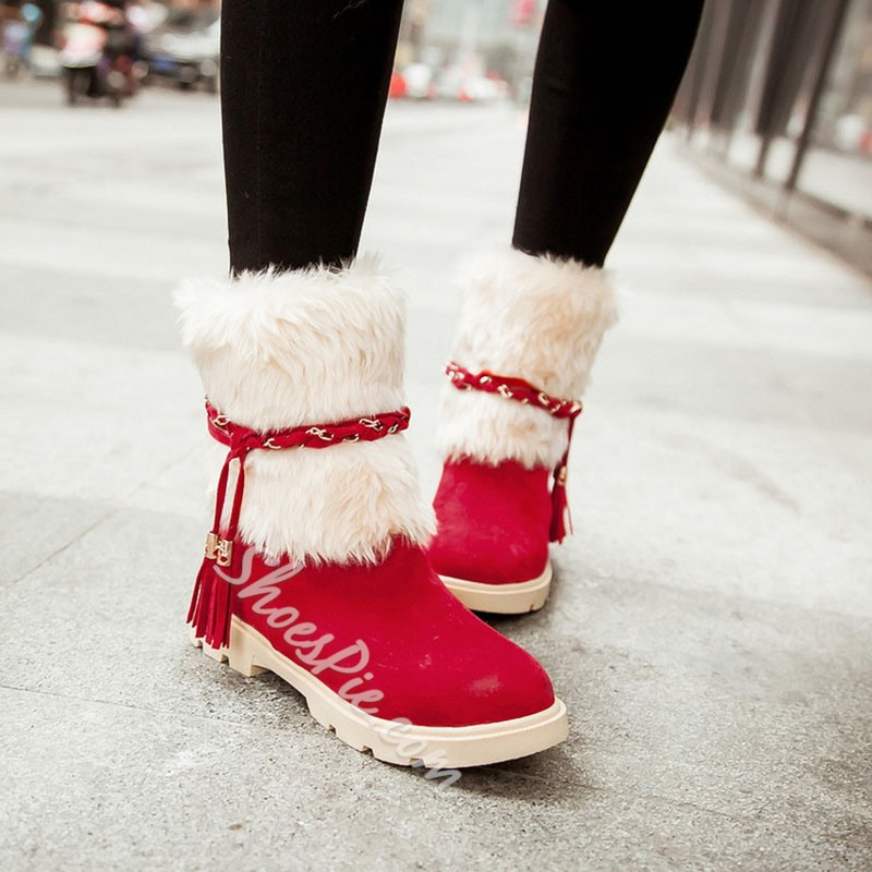 Shoespie Sexy Suede Round Toe Patchwork Slip-On Casual Boots