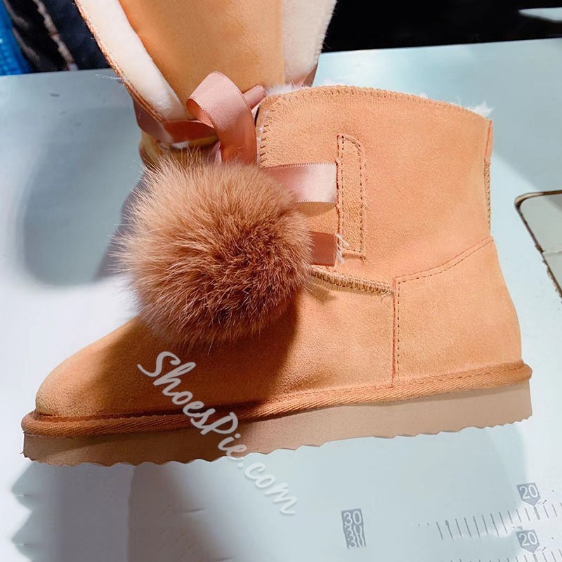 Shoespie Trendy Lace-Up Front Patchwork Round Toe Thread Boots