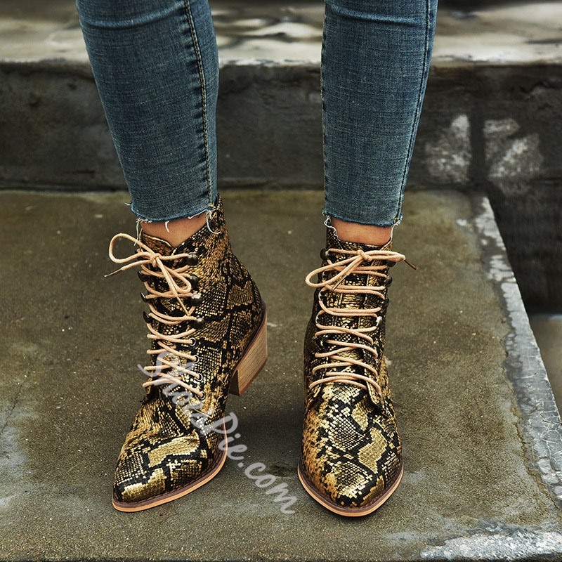 Shoespie Sexy Serpentine Lace-Up Front Chunky Heel Color Block Boots