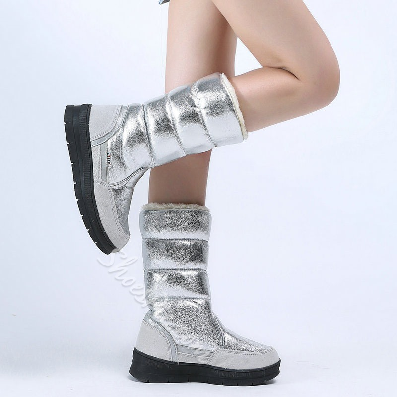 Shoespie Sexy Round Toe Patchwork Slip-On Casual Boots