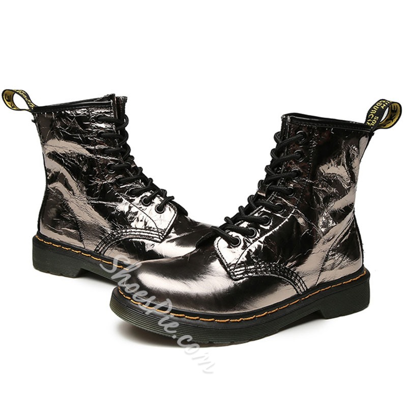 Shoespie Stylish Patchwork Round Toe Lace-Up Front PU Boots