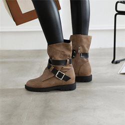 Shoespie Trendy Hasp Block Heel Round Toe Thread Boots