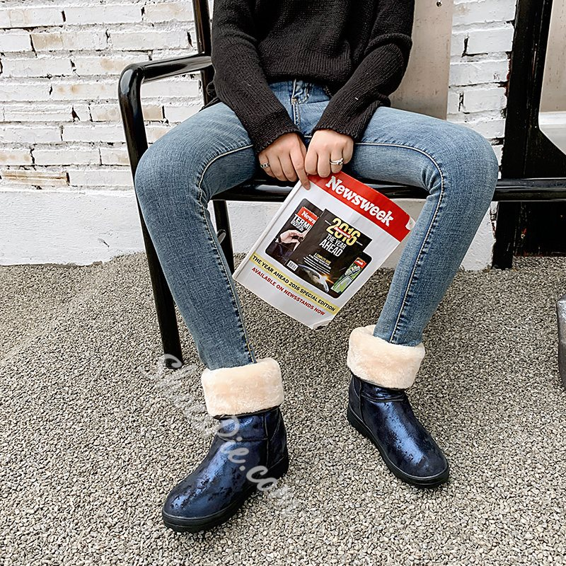 Shoespie Sexy Slip-On Color Block Round Toe Thread Boots