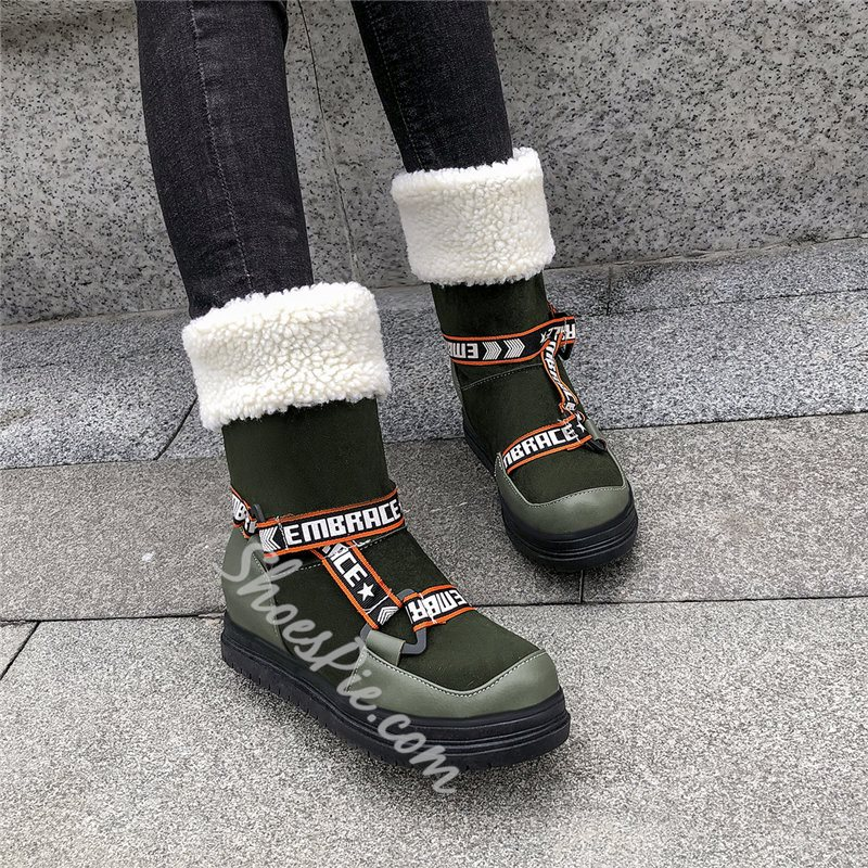 Shoespie Sexy Round Toe Patchwork Slip-On Snow Boots