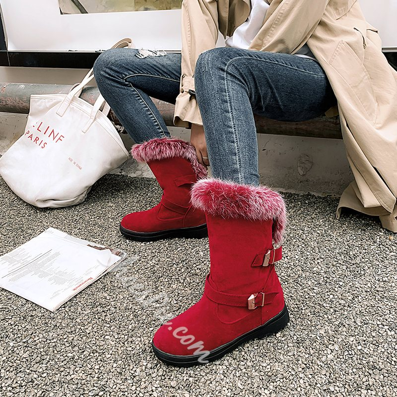 Shoespie Trendy Round Toe Patchwork Slip-On Casual Boots