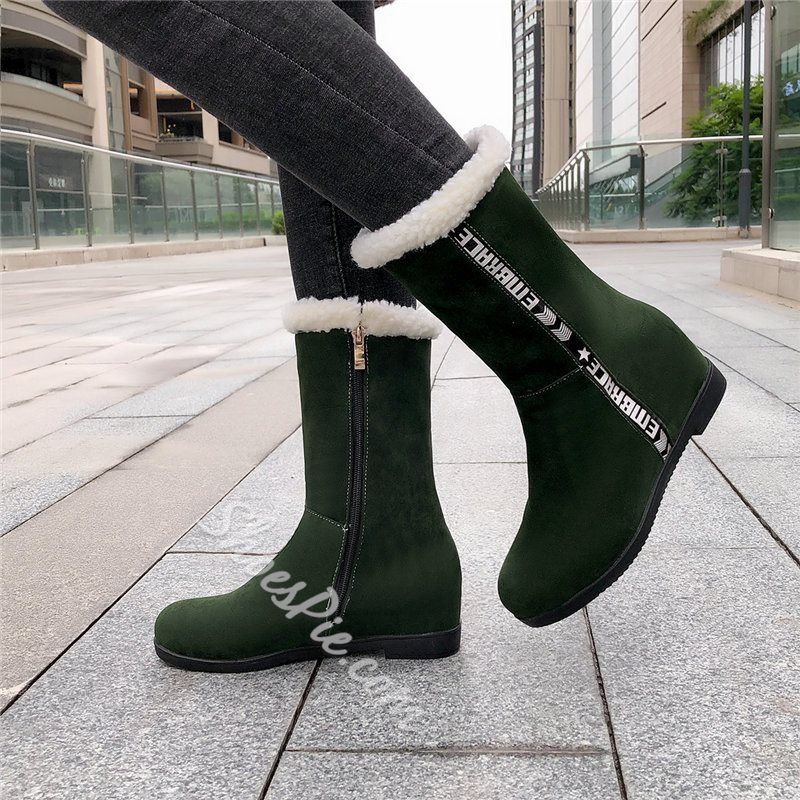 Shoespie Stylish Round Toe Side Zipper Block Heel Casual Boots