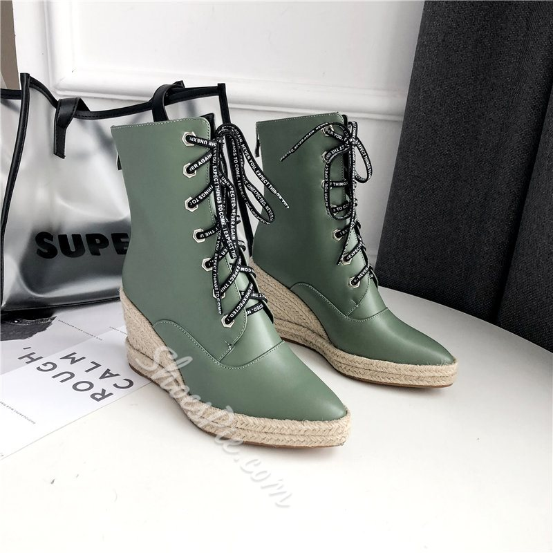 Shoespie Stylish Patchwork Wedge Heel Back Zip Thread Boots