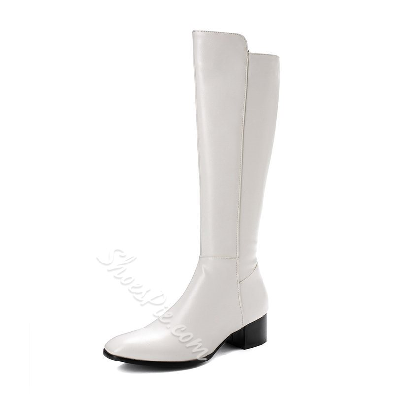 Shoespie Stylish Pointed Toe Side Zipper Block Heel Zipper Boots
