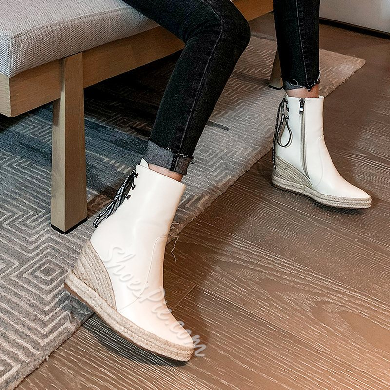 Shoespie Trendy Patchwork Side Zipper Pointed Toe Casual Boots